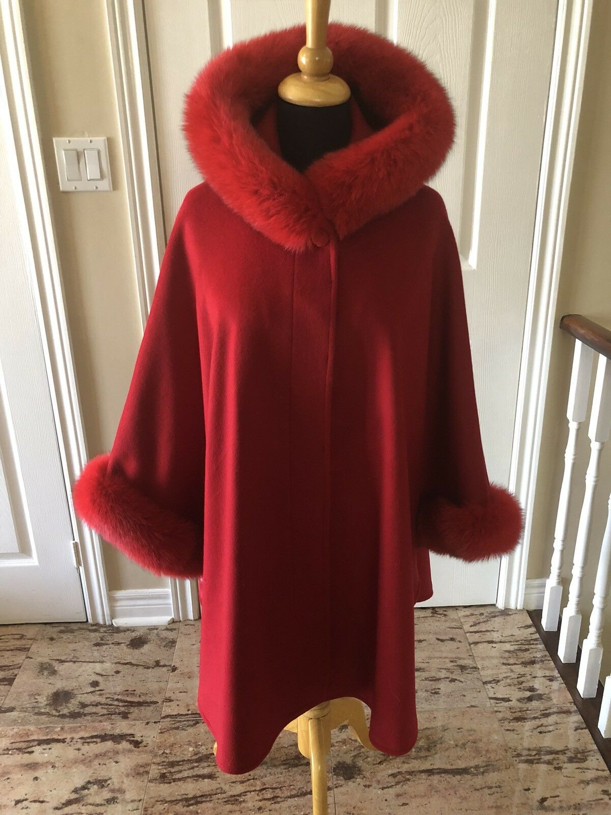 Red Wool Cashmere cape with fox fur Hood and Cuff Trim LINED