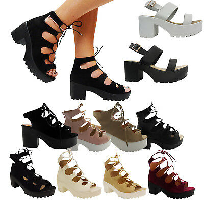 2019 Neuer Stil New Womens Ladies Mid Low Block Heel Chunky Lace Up Cut Out Gladiator Shoes Size Eine GroßE Auswahl An Waren