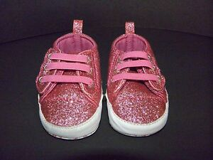 Koala Baby Infant Girl Bright Pink Glitter SNEAKERS Crib Shoes~Size 2~