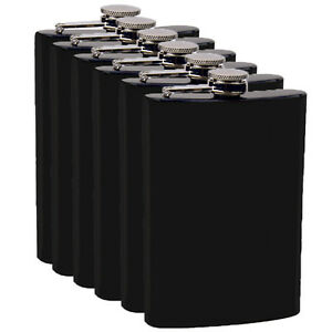 8oz Black Hip Flask (QTY 8) (Stainless steel) Groomsman wedding gift