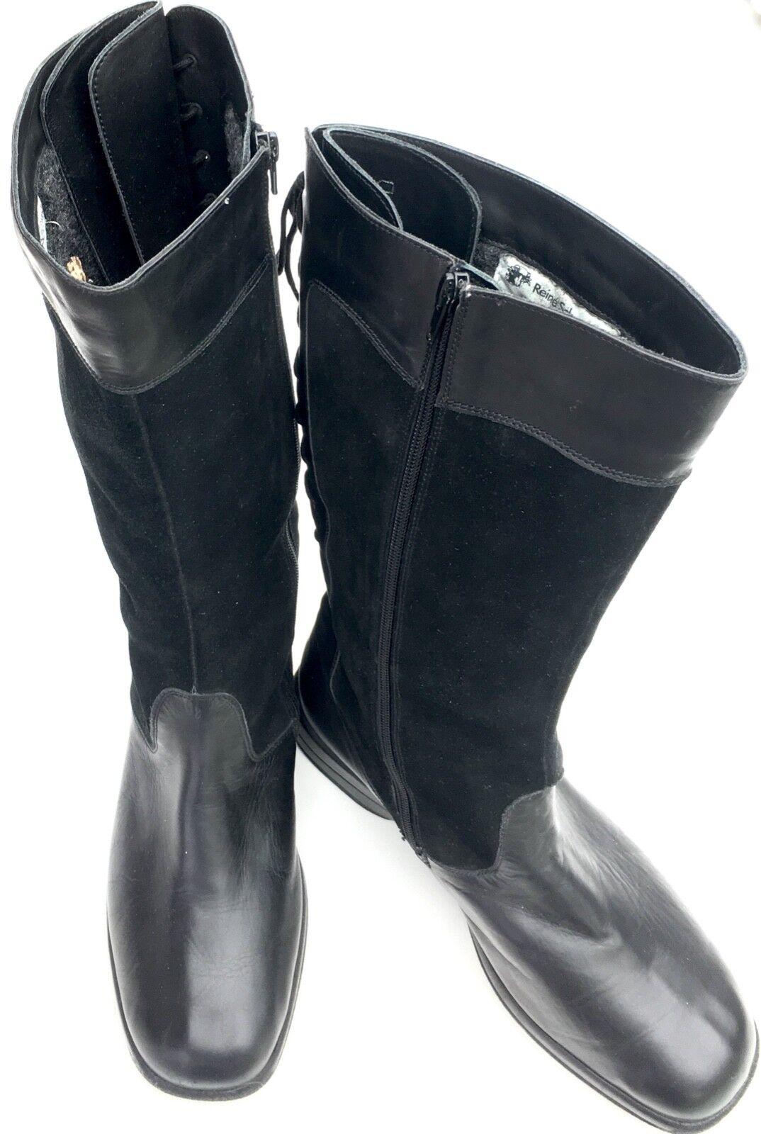 Solidus señora botas Echt Leder negro, pura pura pura lana virgen-nuevo talla 42