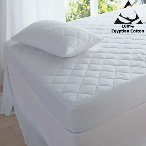 """100/% Egyptian Cotton 200 Thread Count 16/"""" Extra Deep Quilted Mattress Protectors"""