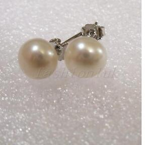 Stud-Earrings-7mm-Genuine-Freshwater-White-Ivory-Pearl-925-Sterling-Silver-UK