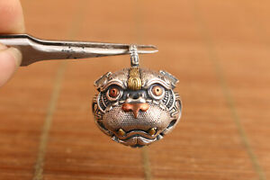 china-solid-925-silver-kirin-fortune-statue-small-bell-pendant-necklace