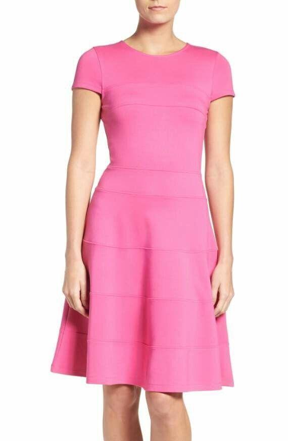 Felicity & Coco Doubleknit Fit & Flare Cap Sleeve Sz M Rosa Dress New