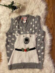 Merry-Christmas-Gray-amp-White-Polar-Bear-Vest-Women-s-Ugly-Christmas-Acrylic-Small