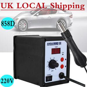 UK 3 Nozzles 220V LCD 858D Hot Air Rework Station Solder Blower Desoldering Tool 614405591034