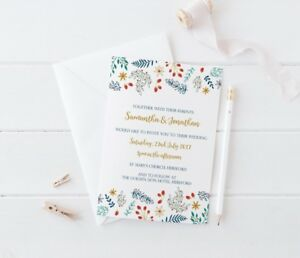 Details About Winter Floral Christmas Theme Wedding Invitation Sample Set Wedding Stationery