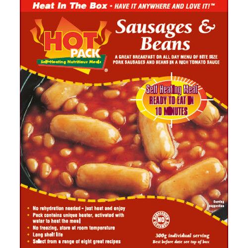 Hot Pack Auto Chauffage repas dans une boîte de saucisses, haricots et sauce tomate Pack de 24