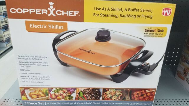 Copper Chef Electric Skillet Buffet Server For Steaming Sauteing