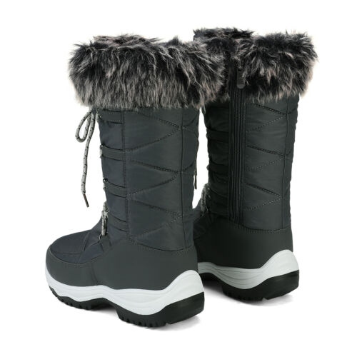 DREAM PAIRS Women Warm Faux Fur Lined Waterproof Mid Calf Zipper Snow Boots