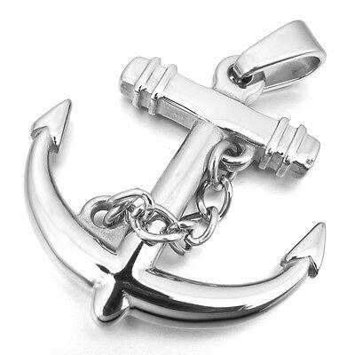 Edelstahl Anhänger Halskette Silber Anker Herren vu0706
