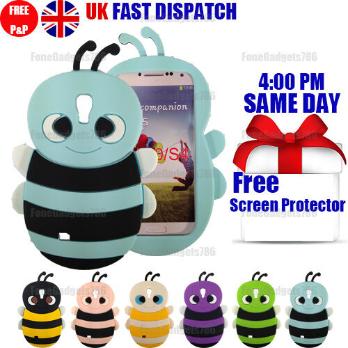 CUTE BEE SOFT SILICONE CASE & FREE SCREEN PROTECTOR For Samsung Galaxy S4 i9500