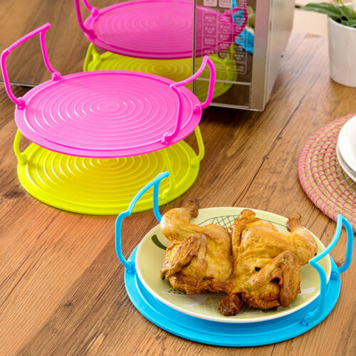 4 in 1 Microwave Plastic Food Dish Plate Stand Stacker Tray Heat Lifter Plastic