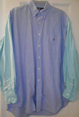 Vtg RALPH LAUREN Big Shirt Blue Green Color Block Embroidered Pony~M~Oversized