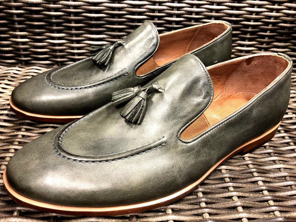 Designer Mocassins Gris Vert Fait à La Main Cuir Chaussures Homme 40