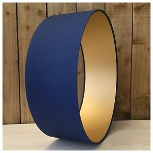 Image Is Loading Handmade Navy Blue Amp Metallic Gold Lampshade Lightshade