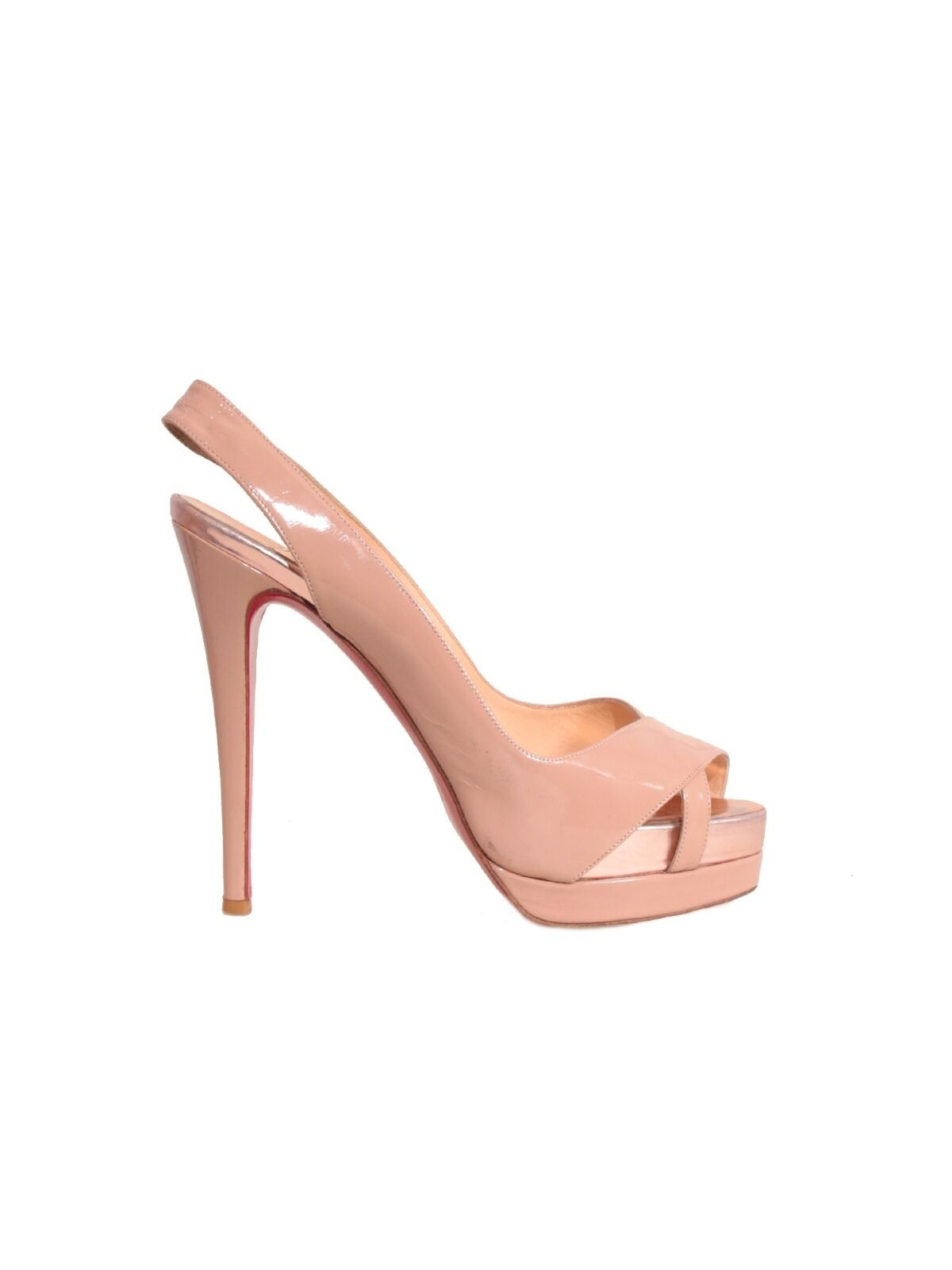 CHRISTIAN LOUBOUTIN Patent Leather Slingback Pumps Nude (SIZE 40)