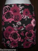 Womens Nollie Black & Pink Floral Stretch Mini Skirt Choose Size