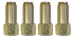 "Air Suspension System 4 Brass Fittings 1/4""NPT Female to 1/4"" Air Hose Push In"