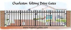 Wrought-iron-folding-drive-gates-bi-folding-Charleston