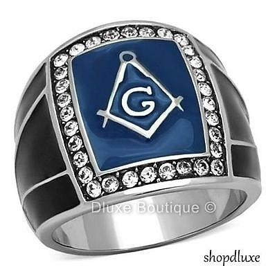 Men's Round Cut CZ Silver Stainless Steel Masonic Freemason Ring Band Size 8-14
