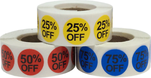 Color Coded Percent Off Stickers Three Pack
