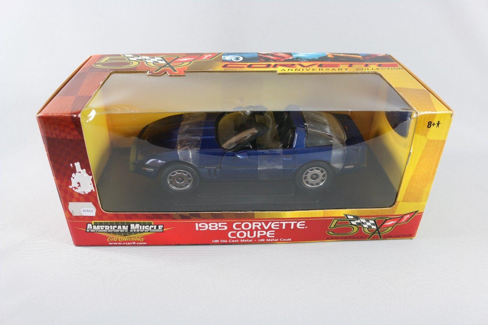 ZC411 Ertl RC2 33469 Voiture Miniature 1/18 Chevrolet Corvette Coupe 1985 Muscle