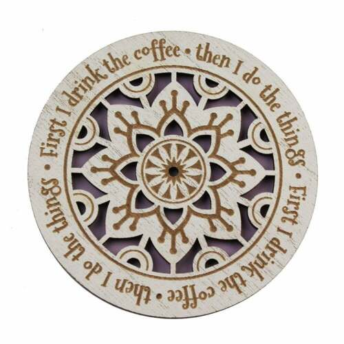 First I Drink The Coffee 00226010017 History /& Heraldry Woodcut Coaster