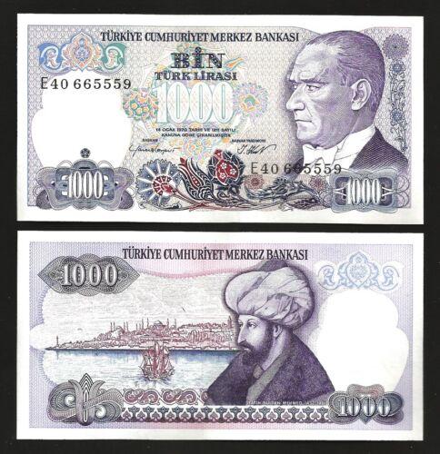 1986 AUNC // UNC 5 PCS CONSECUTIVE LOT P 196 -E- SERIAL TURKEY 1000 LIRA 1970