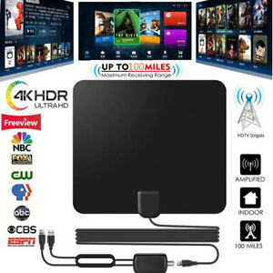 Digital-TV-Antenna-Indoor-Aerial-HD-Freeview-Signal-Amplified-Thin-HDTV-100-Mile