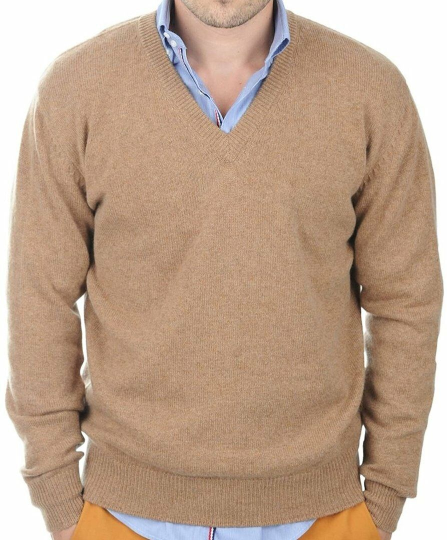 Balldiri 100% Cashmere Herren Pullover V-Ausschnitt 4-fädig camel meliert S