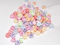 10/100/250/500/1000 St. - Acryl Buchstaben Perlen BUNT gemischt - 7mm ABC Perlen