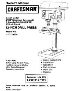 craftsman 137 219120 drill press owners instruction manual ebay rh ebay com 926 Sterling Drill Press Manual 926 Sterling Drill Press Manual