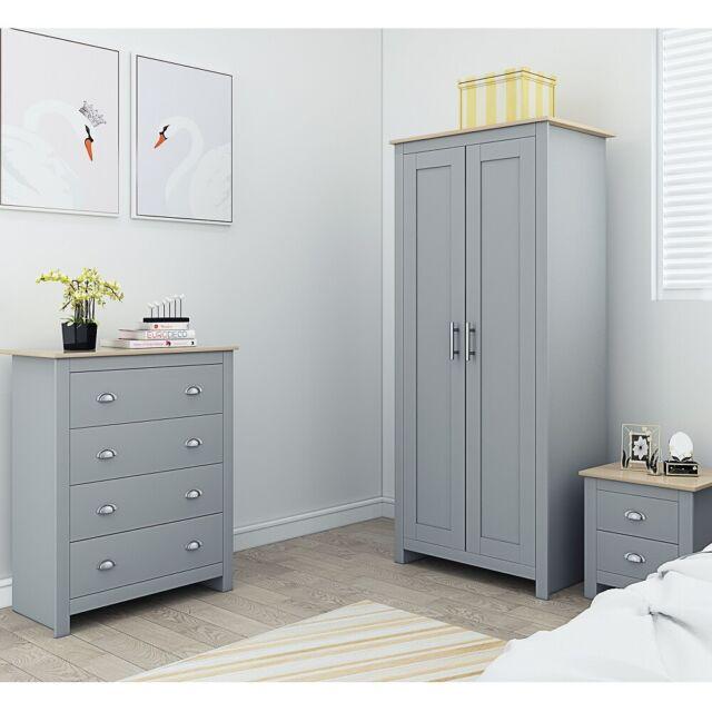 Westbury Grey Traditional Bedroom Furniture Set Wardrobe 4 Drawer Chest Bedside For Sale Online Ebay