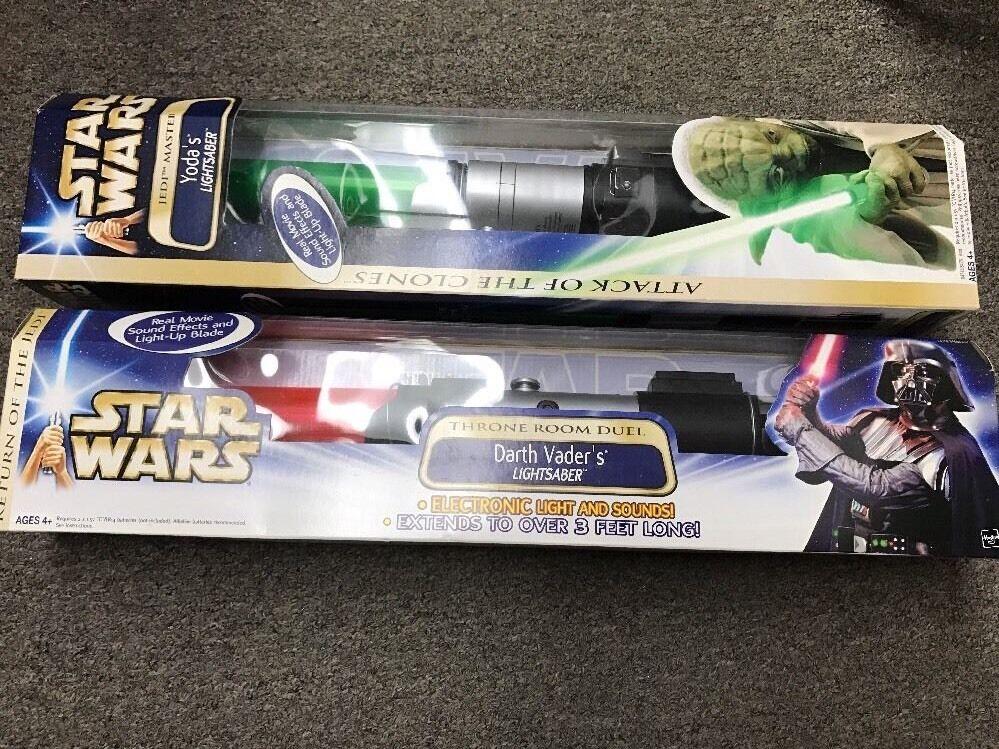 Star Wars electronic lightsaber darth vader redj MISB & Yoda Light saber