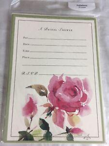 Bridal Shower Invitations /& Envelopes 5x7 Rose Floral Sold In Sets Of 10 New