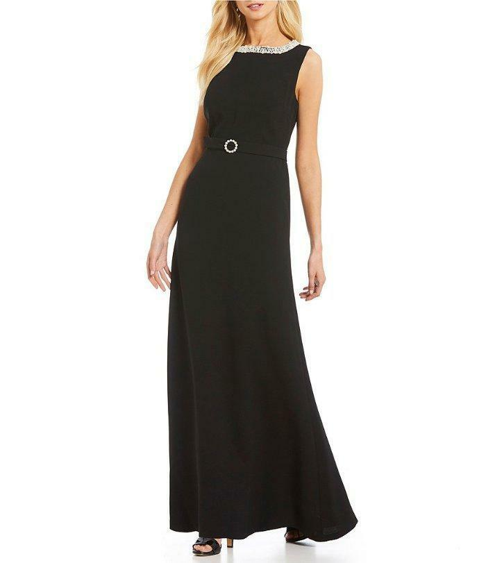 KARL LAGERFELD PARIS® 14 Pearl Trim Open Back Black Belted Gown NWT