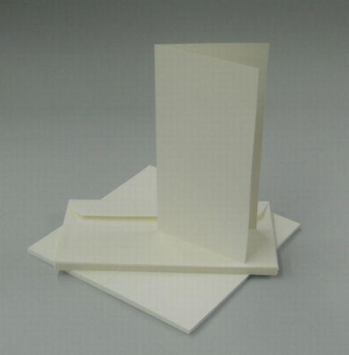 Kuvert 50 Faltkarten Blankokarte DIN lang hoch creme