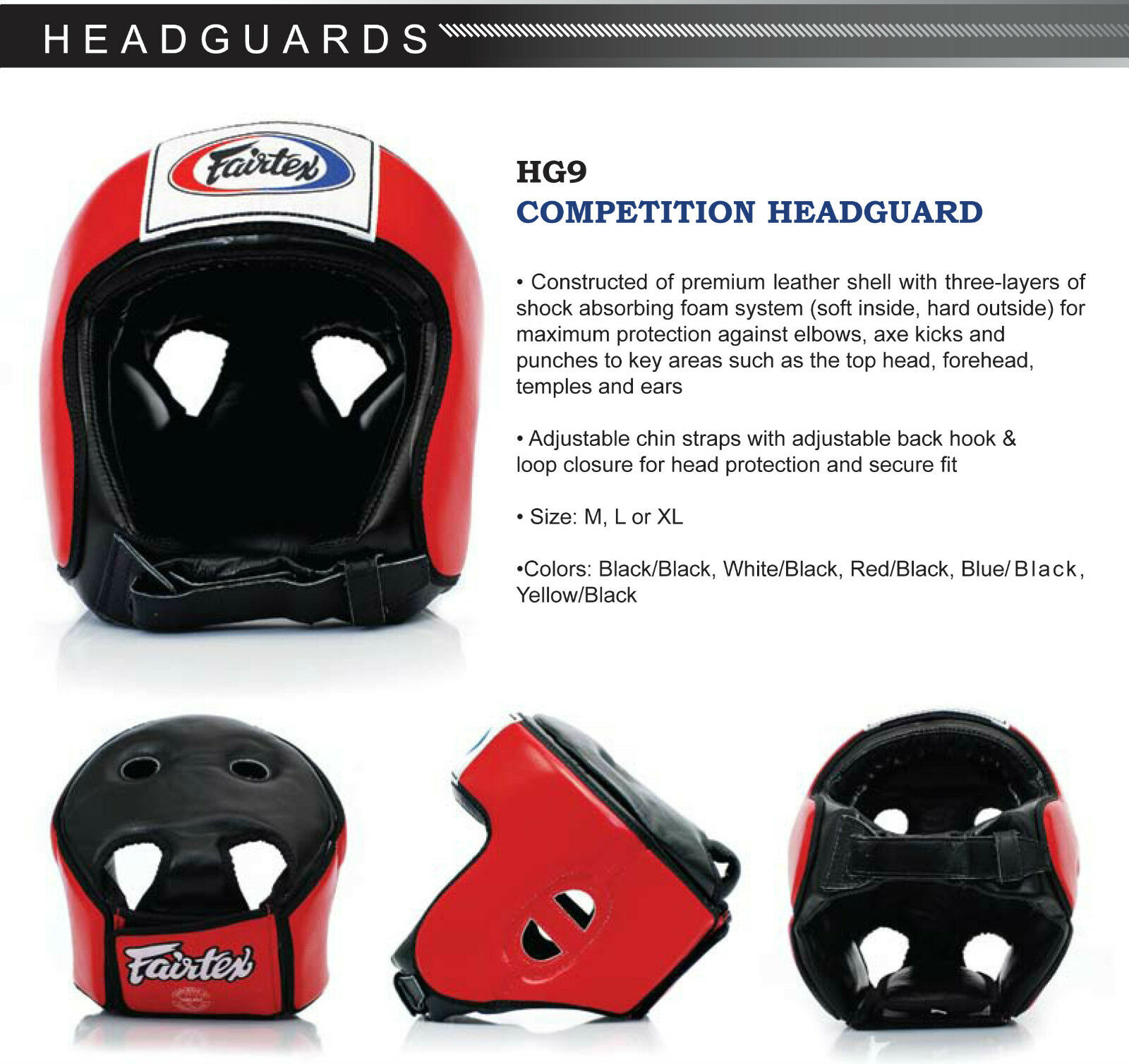 Fairtex Competition HeadGuard Open Face Best MMA Equipment 7 Days Made to Order
