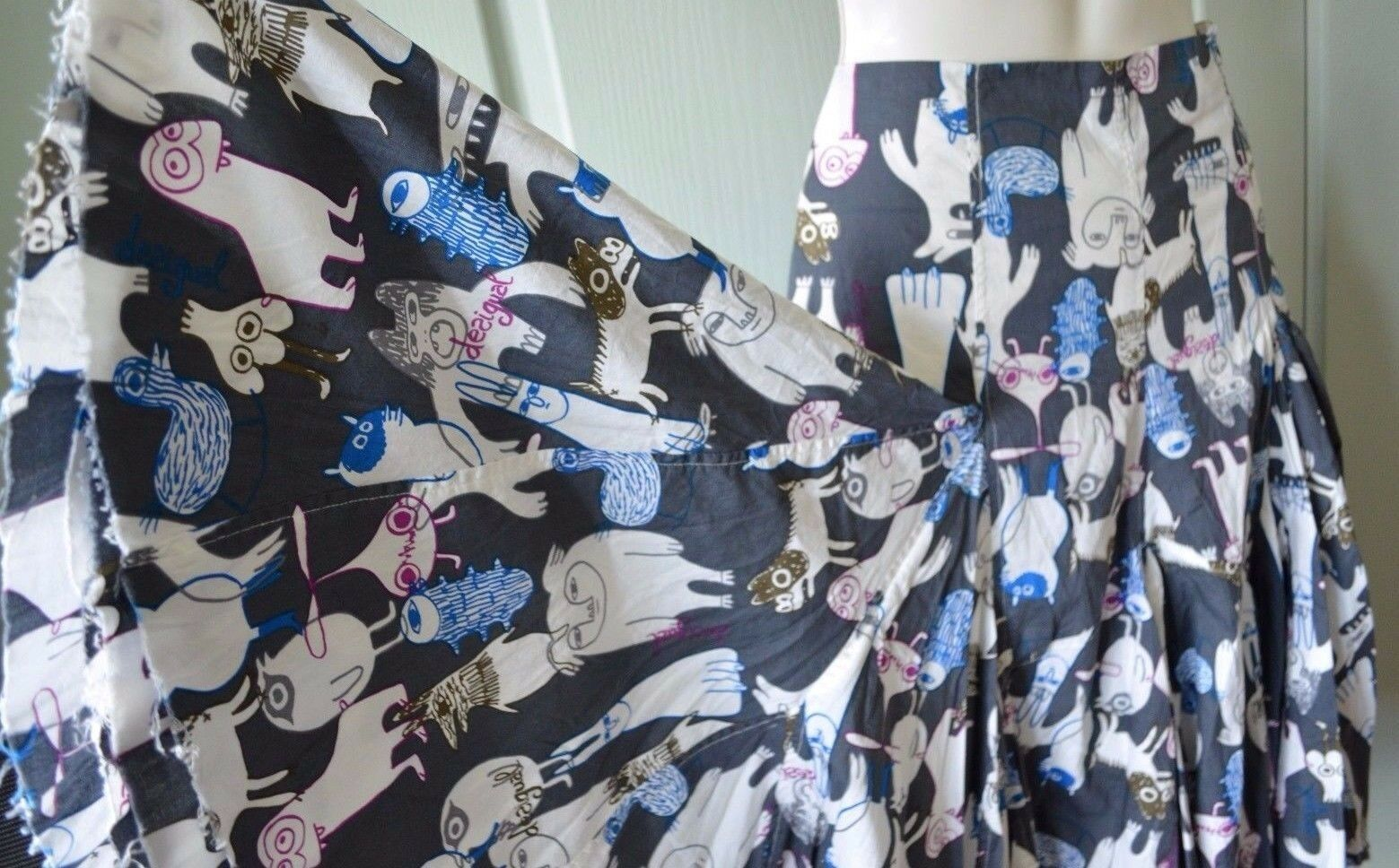 New Desigual Cotton Pleated Skirt Psychedelic Creatures Pattern Pleated S bluee