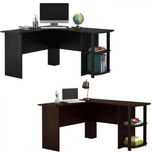 Details about FCH Wooden L-Shaped Computer Desk Home Office Laptop PC Table  Bookshelves Black