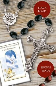 Image is loading Confirmation-Rosary-Boys-Black-Wood-Confirmation-Gift-Boy-