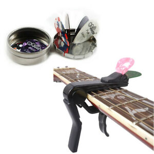 Guitar-Capo-with-Pick-Holder-Design-amp-Alice-Guitar-Picks-Case-with-12-Plectrums