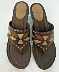 Nurture-Dark-Brown-Leather-Aztec-BooneThongs-Heels-Slides-Sandals-8-5M-NEW