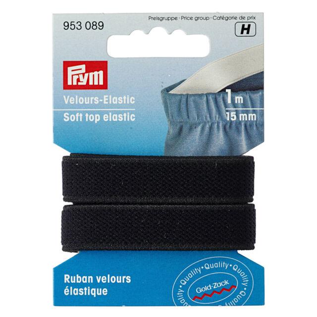 Prym 1m Velour-Elastic 15mm schwarz Herstellung von Trägern an BHs Tops  953089