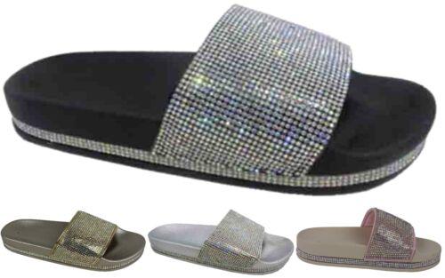 Ladies New Stone Holiday Wear Open Toe Slip On Slider UK Size 3-8