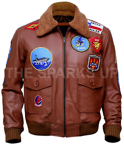 The Sparks Up Inc Mens Casual Vingate Style Brown Bomber Faux Leather Jacket