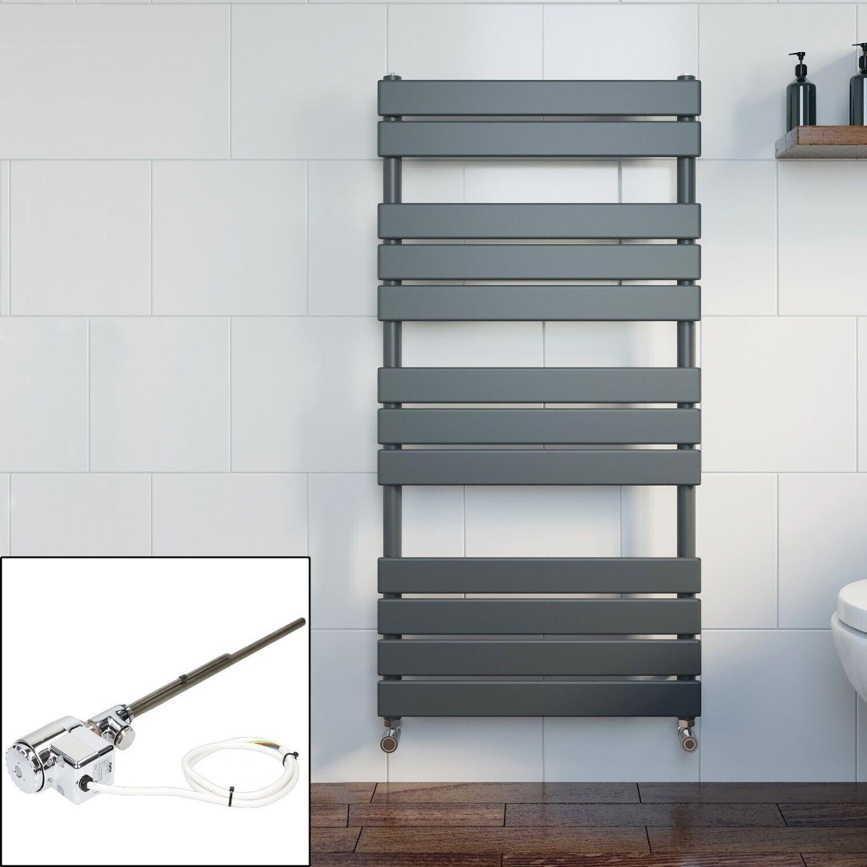 Bathroom Dual Fuel Flat Panel Heated Towel Rail 1200x600 Thermostatic Anthracite