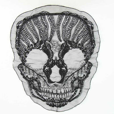 1 pcs Polyester Off Beige Black Skull Motif Embroidered Lace For Costume Decor
